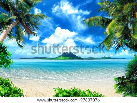 Tropical coast, beach with hang palm trees. View of the Sea, the island green and the sky with large clouds. Magical lighting. - stock photo