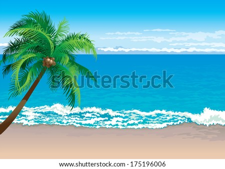 Tropical coast. Illustration  of coconut palm tree on a beach - Horizontal format - stock photo