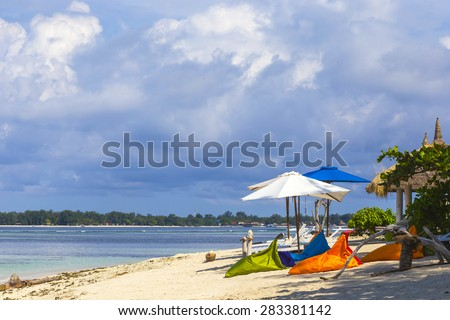 Tropical coastline of Gili island,Indonesia.White sand beach. - stock photo