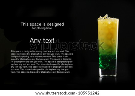 Tropical cocktail isolated on black background - stock photo