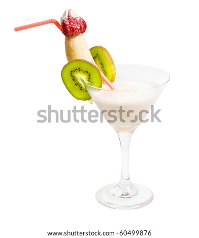 tropical coco with kiwi and banana cocktail isolated on white background,clipping Path