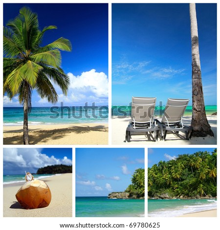 Tropical collage. Beach with palm and chaise longues - stock photo