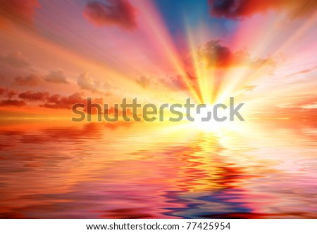 Tropical colorful sunset. Thailand - stock photo