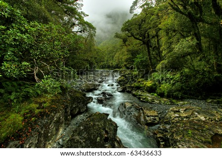 tropical creek, flowing with glacier water - stock photo