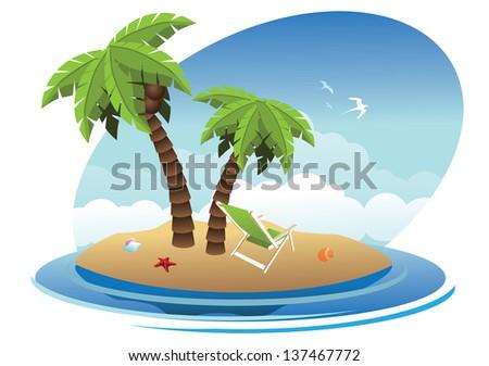 Tropical Desert Island. jpg - stock photo