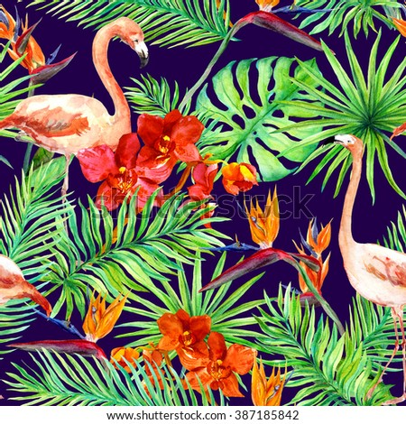 Tropical design: exotic leaves, pink flamingos and orchid flowers at dark background. Seamless pattern. Watercolor - stock photo