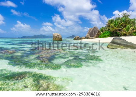 Tropical dream - Anse Source d'Argent - Beach on island La Digue in Seychelles