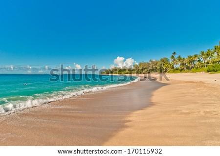 tropical exotic secluded Haena beach in Kauai island, Hawaii - stock photo