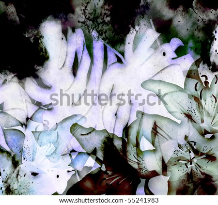 tropical floral and fern illustration with translucent lilly flowers.  Textured banana tropical plants and distress texture detailing. - stock photo