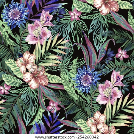 tropical floral print. variety of jungle and island flowers in bouquets in a dark exotic print. allover design, realistic vintage watercolor illustration. muted and faded look.  - stock photo