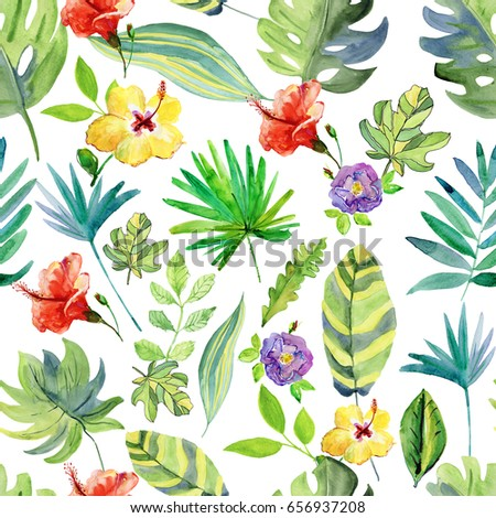 Tropical Flowers Leaves Watercolor Painting Seamless Stock