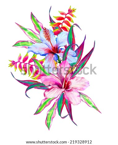Tropical flowers. hibiscus heliconia cordyline - stock photo