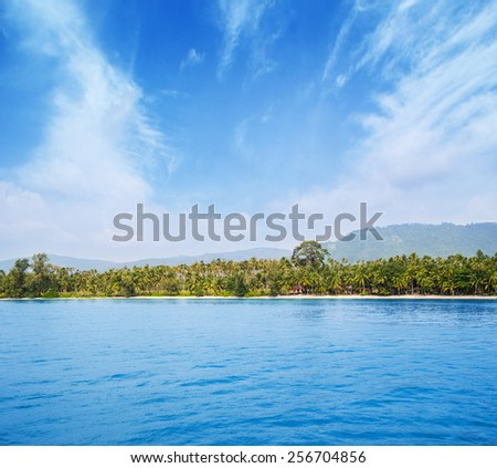 Tropical forest, sea coast and mountains. Siamese bay, Samui, Thailand.  - stock photo