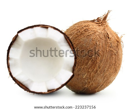 Tropical fruit coconut isolated on white background. - stock photo