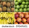 tropical fruit collage of four photos - stock photo