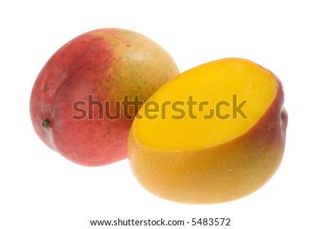 Tropical fruit - Mango isolated on white background - stock photo