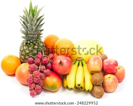 tropical fruits and berries isolated on white background - stock photo