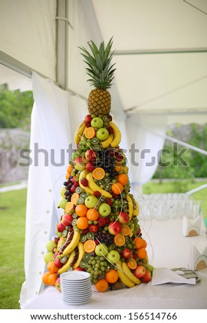 Tropical fruits are provided for guests celebration