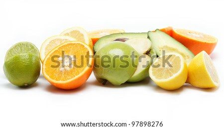 tropical fruits isolated on a white background.