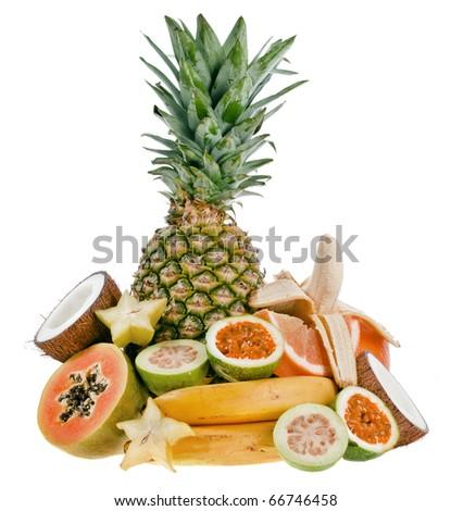 Tropical fruits on white - stock photo