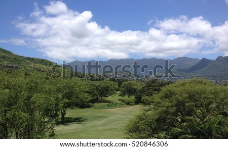 Tropical Golf Course in Kailua, Maui. Golf course in the middle of a tropical forest.  Kailua Golf course near Lanikai Pillbox hike.