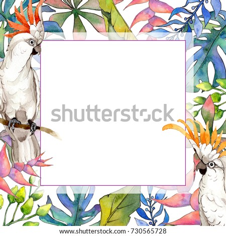 Tropical Hawaii Leaves Frame Watercolor Style Stock Illustration ...