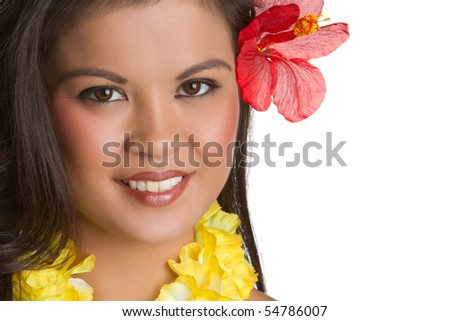 Tropical hawaiian woman - stock photo