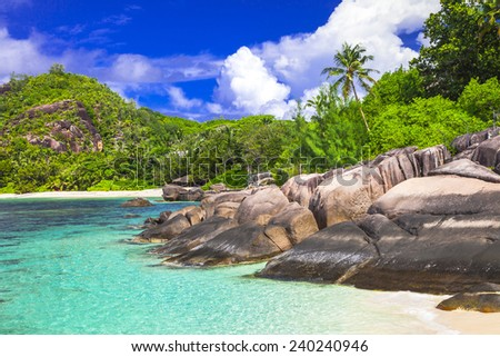 tropical holidays - Seychelles islands - stock photo