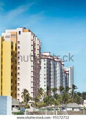 Tropical Hotel Exteriors - stock photo
