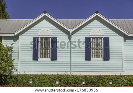 tropical houses in key west florida  - stock photo