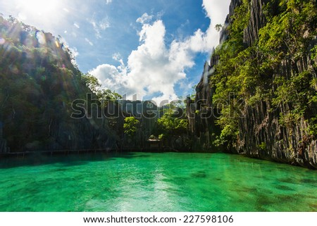 Tropical Island. Barracuda Lake, Coron, Philippines. - stock photo