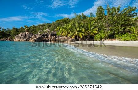 Tropical island beach Anse Lazio, Praslin, Seychelles - stock photo