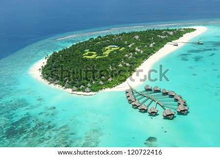 Tropical island in Indian ocean Maldives - stock photo