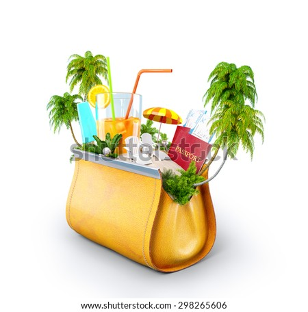 Tropical island in opened women's casual purse. Unusual travel illustration. - stock photo