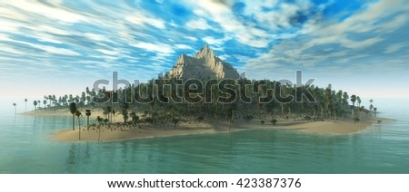 tropical island in the ocean, seascape, panorama, 3D rendering. - stock photo
