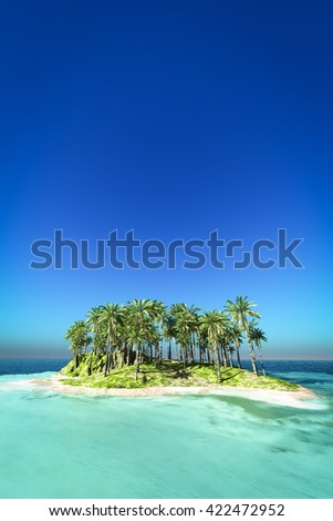 Tropical island on the blue sea 3d rendering  - stock photo