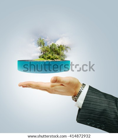tropical island on the hand ( 3D illustration) - stock photo