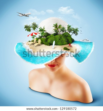 Tropical island on the hat of woman. Traveling - stock photo