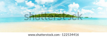 Tropical island panorama - stock photo