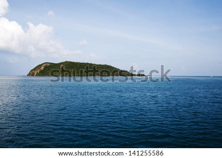 Tropical island panorama - stock photo