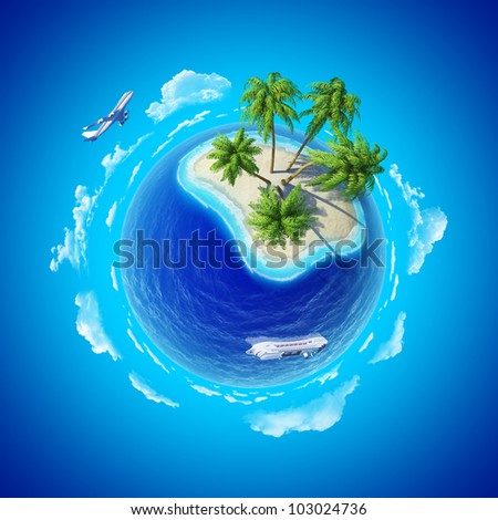 Tropical island, plane and cruise ship. Mini planet concept. Travel and business concept. Earth collection. - stock photo
