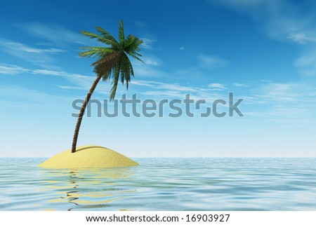 Tropical island with coconut palmtree - stock photo