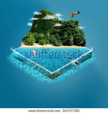 Tropical island with mountains and sea. isometric view. - stock photo