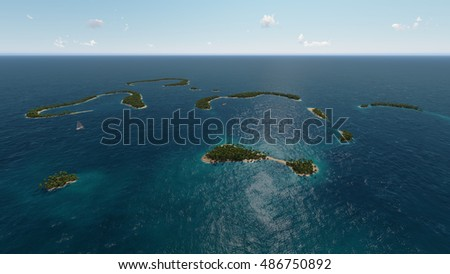 Tropical islands in ocean 3D rendering  illustration