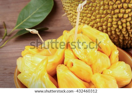 Tropical Jack Fruit on the wood background - stock photo