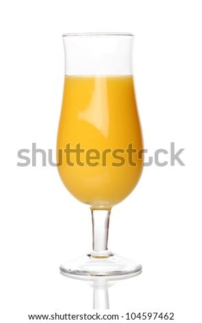 Tropical juice in glass isolated on white - stock photo