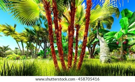 Tropical jungle 3d illustration - stock photo