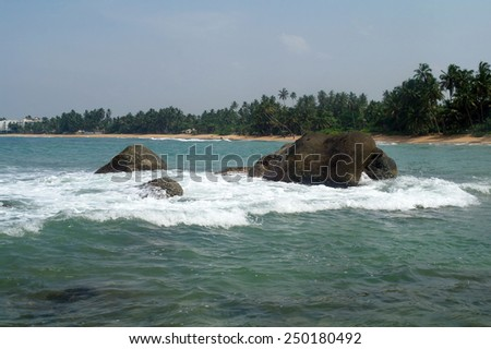 Tropical lagoon on the coast of the Indian ocean - stock photo