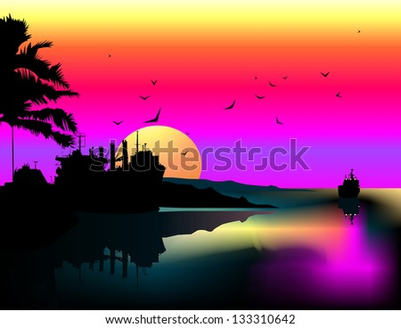 Tropical landscape - stock photo
