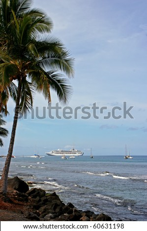 Tropical Landscape Boats on Ocean Kauai Hawaii - stock photo